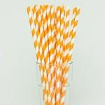 papír szívószál, narancs, csíkos