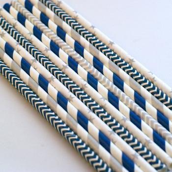papírszívószál, kék-ezüst