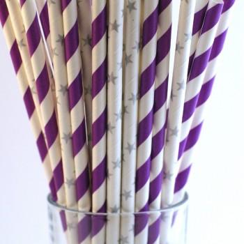 papír szívószál, lila-ezüst