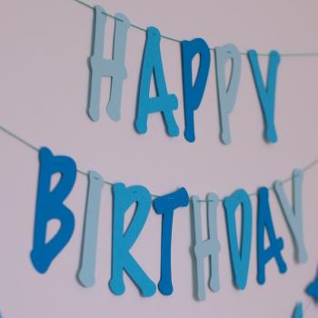 Felirat girland - Happy Birthday, kék