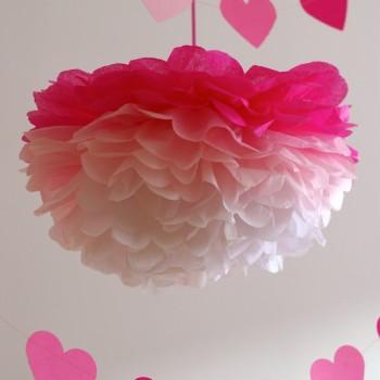 selyempapír pompom, pink ombre