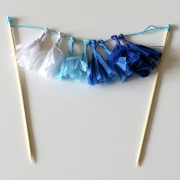 Pálcadísz, mini rojtos girland, kék