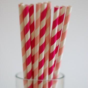 papírszívószál, pink-mix