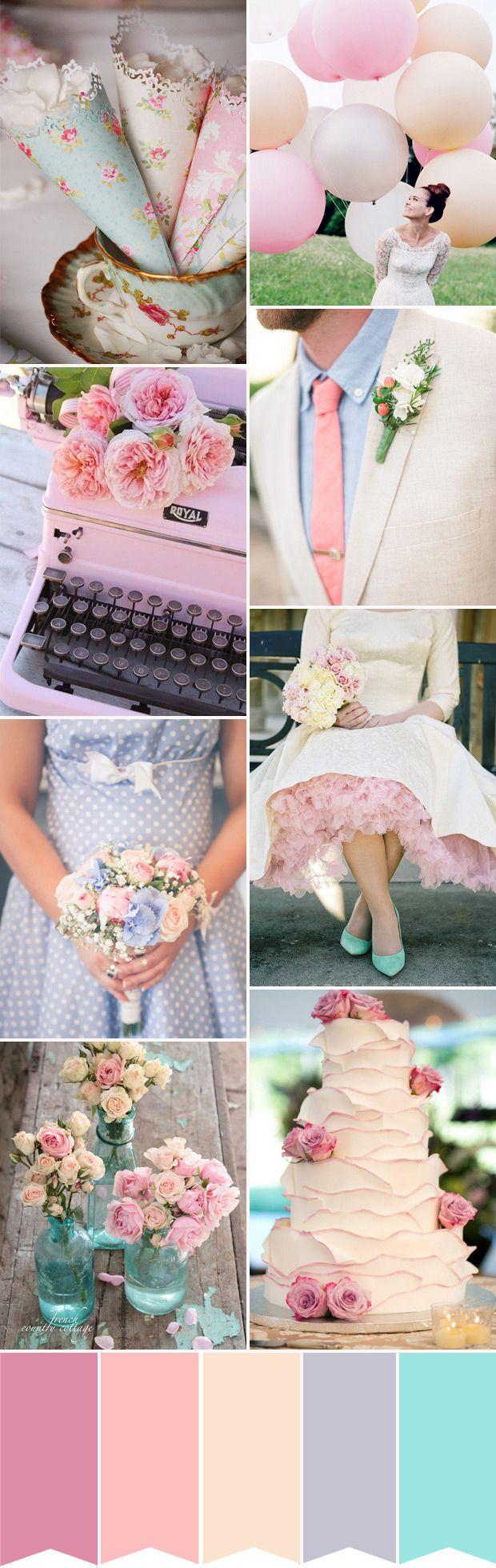 retro pasztell esküvő