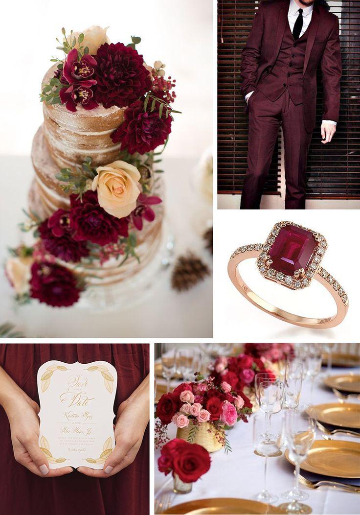 esküvő, burgundi és arany