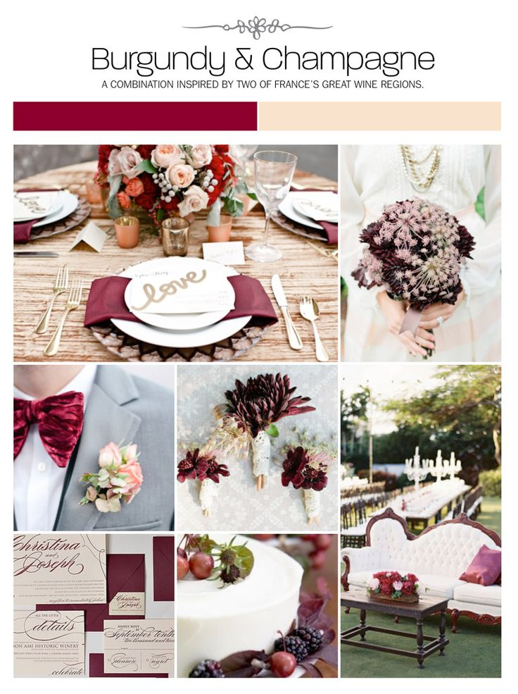 esküvő, burgundi és pezsgő