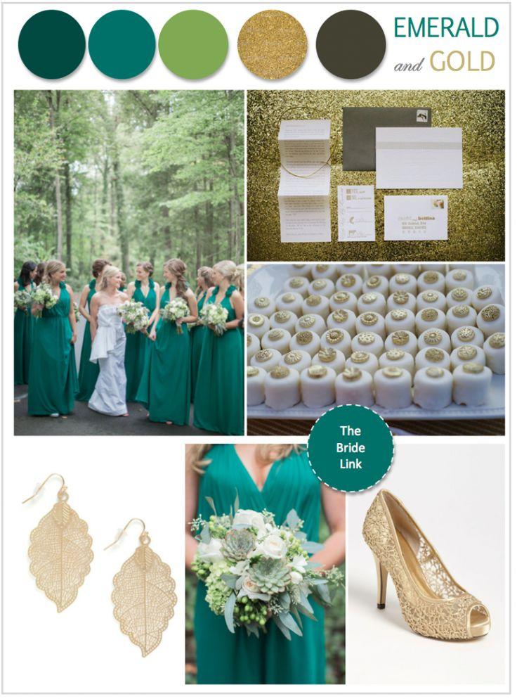 esküvő, emeráld-arany