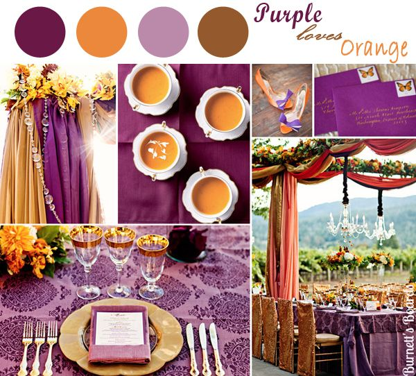 esküvő, lila és narancs