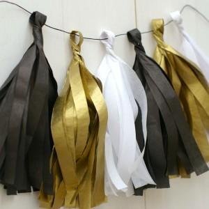 Rojtos girland, szilveszteri - fekete, fehér, arany
